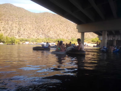 Fellow tubers on river