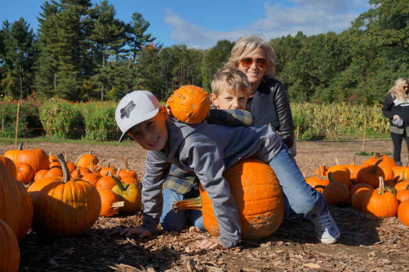 Ashley and boys at Parlee Farms - Fall in New England