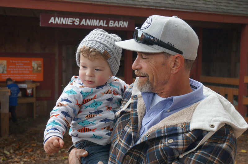 Shane and his grandpa enjoying Fall in New England